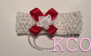 White/Red~ Girls Headbands